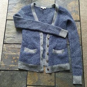 Madewell brand Merino Wool Chevron Print Cardigan